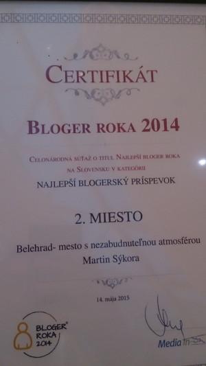 Certifikát za druhé miesto